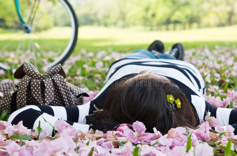 Download Asian woman sleeping stock image. Image of education - 30081271