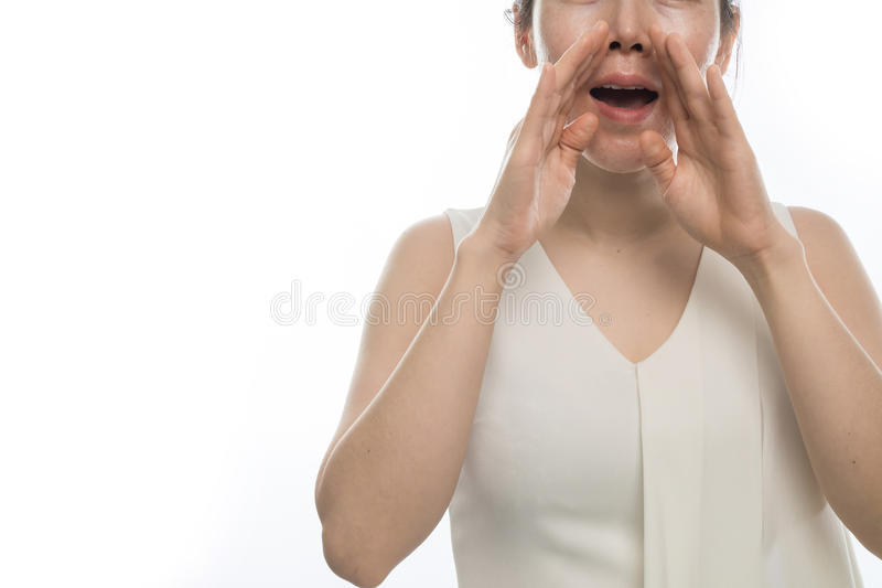 Asian woman sneezing on isolated white background. concept of h royalty free stock photos