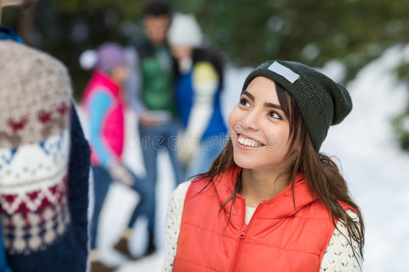 Asian Woman Snow Forest Happy Smiling Young People Group Walking Outdoor Winter. Pine Woods stock photography