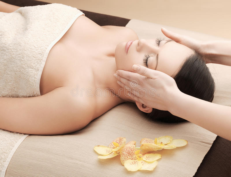 Asian woman in spa stock image