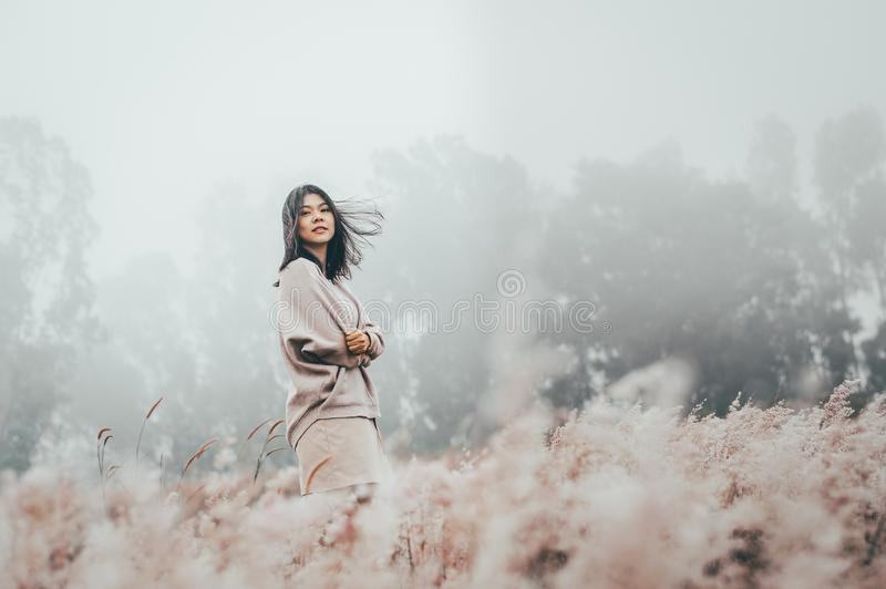 Asian woman standing in grass flower filed cover with mist royalty free stock photos