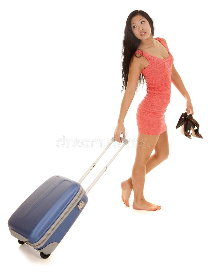 Download Asian Woman Suitcase Look Back Stock Image - Image: 29614311
