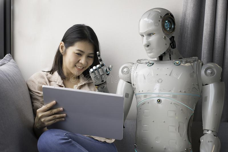 Woman with robot advisor royalty free stock photography