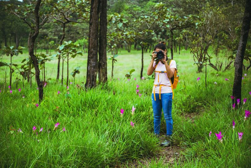 Asian woman travel nature. Travel relax. Photography Cucumber sessilis flower field royalty free stock images