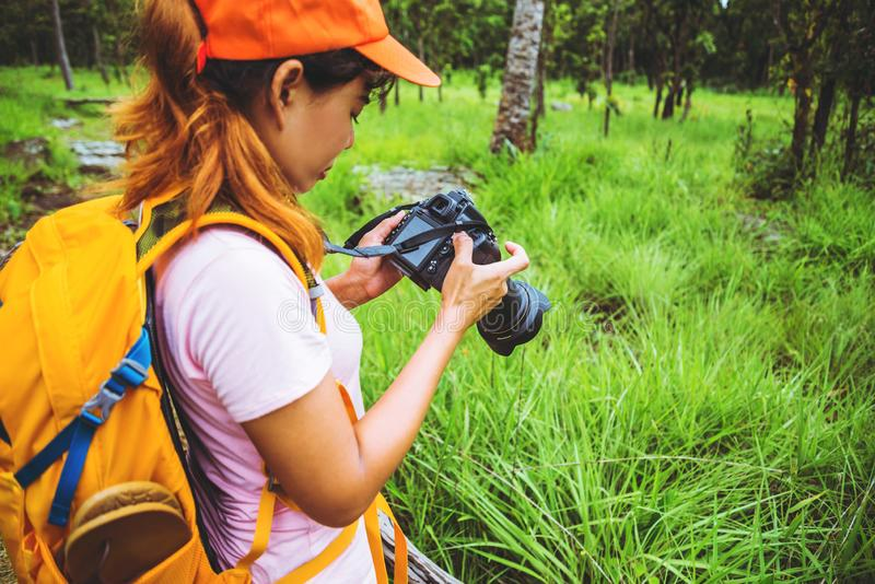 Asian woman travel nature. Travel relax. Photography Cucumber sessilis flower field. Travel nature in the holiday stock photos