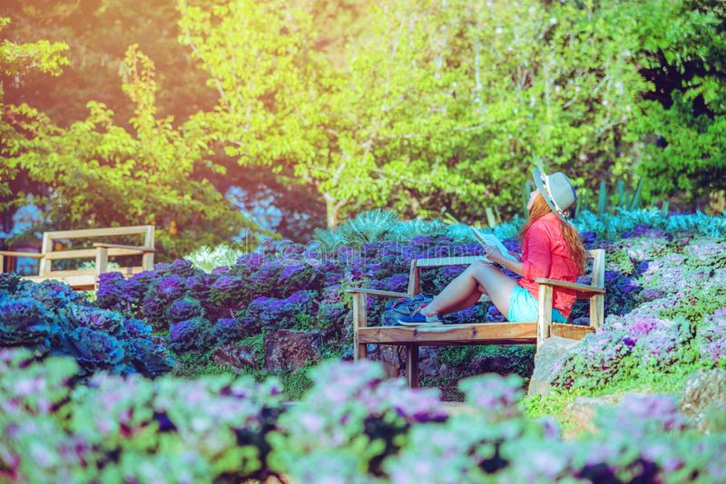 Asian woman travel nature. Travel relax. Read the book on the bench in the park in summer stock images