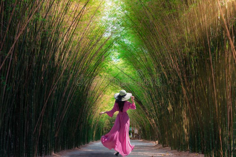Asian woman traveler at green bamboo tunnel  at Chulabhorn wanaram temple is a tourist attraction of the Nakhon Nayok Province,. Thailand stock photography