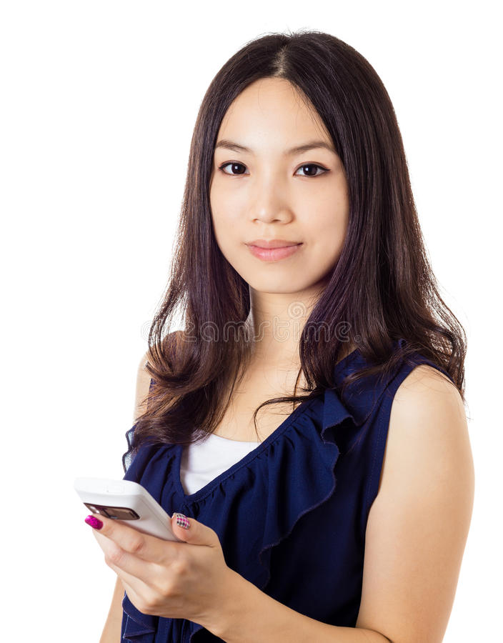 Asian woman using mobile. Isolated on white stock image
