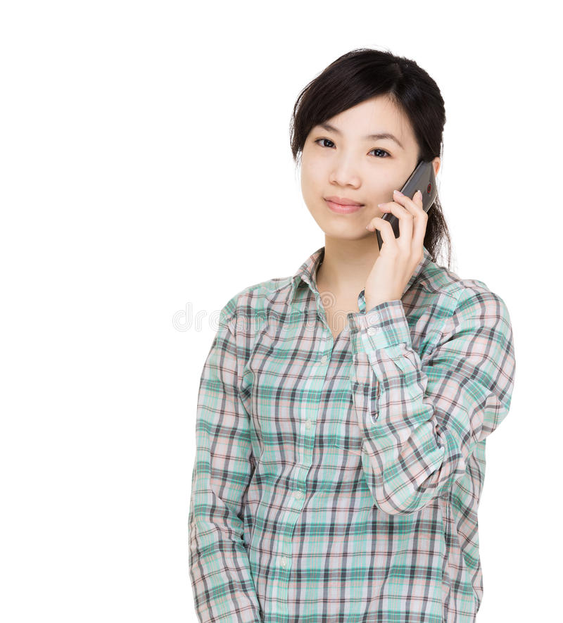 Asian woman using mobile. Isolated on white stock photos