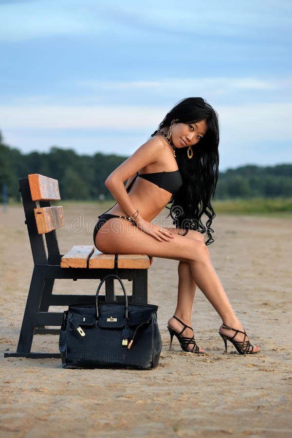 Asian woman on vacations stock photo