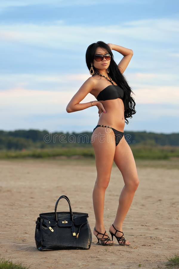 Asian woman on vacations royalty free stock photography