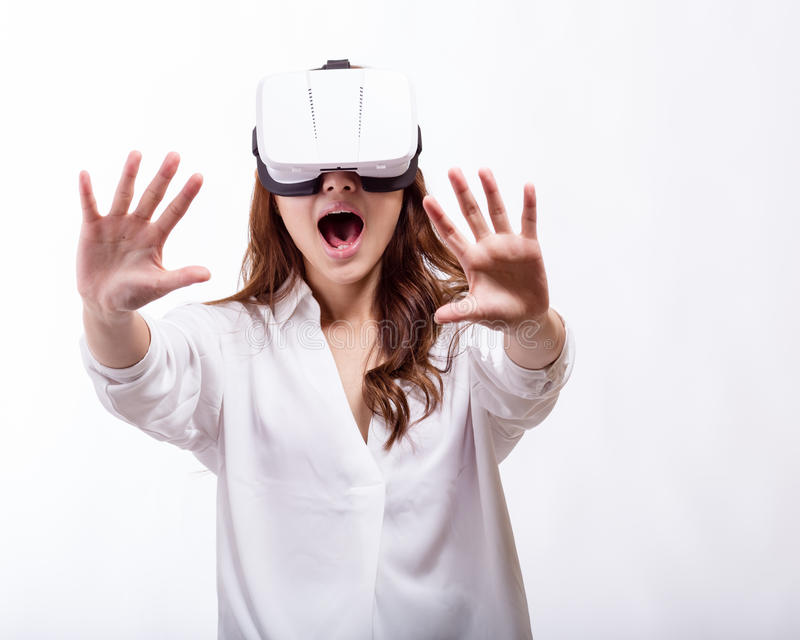 Download Asian Woman In Virtual Reality Headset Stock Photo - Image of leisure, gamer: 71302912