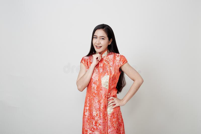 Asian woman wear cheongsam in chinese new year royalty free stock photos