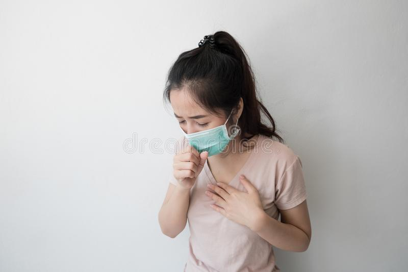 Asian women wear health masks to prevent germs and dust. Thoughts about health care stock photo
