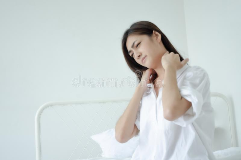 Sick woman with pain stock image