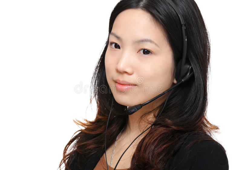 Asian woman wearing headset. Over white background stock images