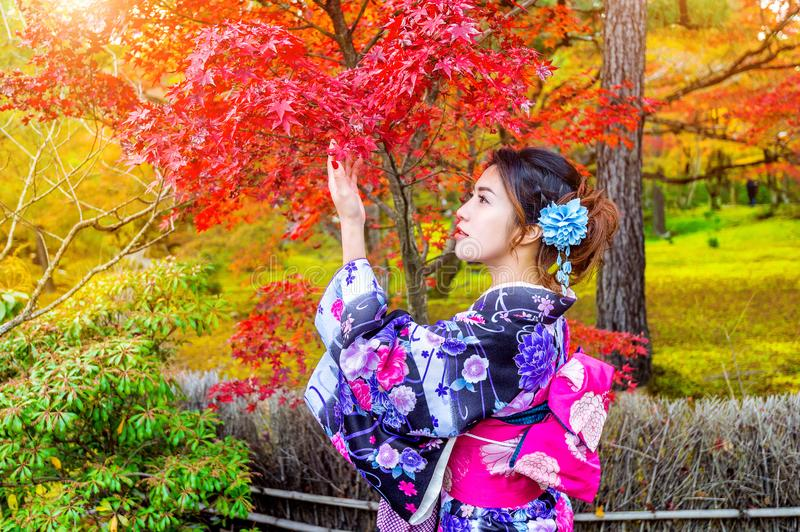 Asian woman wearing japanese traditional kimono in autumn park. Japan.  royalty free stock photos