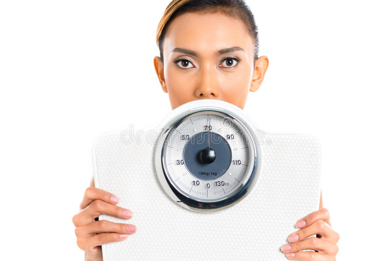 Asian woman with weight scale stock photo