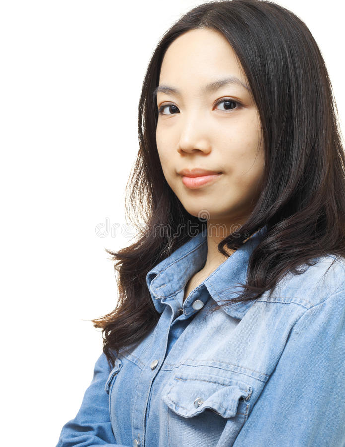 Asian woman. On white background stock image