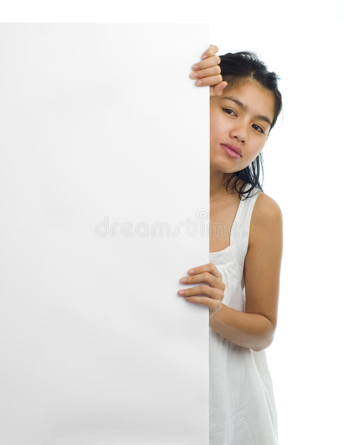 Asian woman with a white board royalty free stock photo