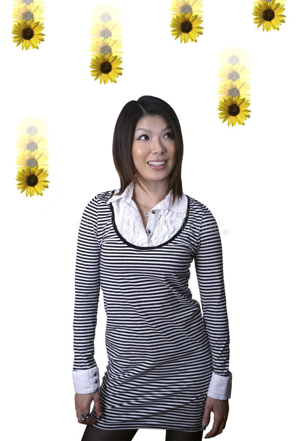 Free Asian Woman With Dasies Royalty Free Stock Photography - 13577627