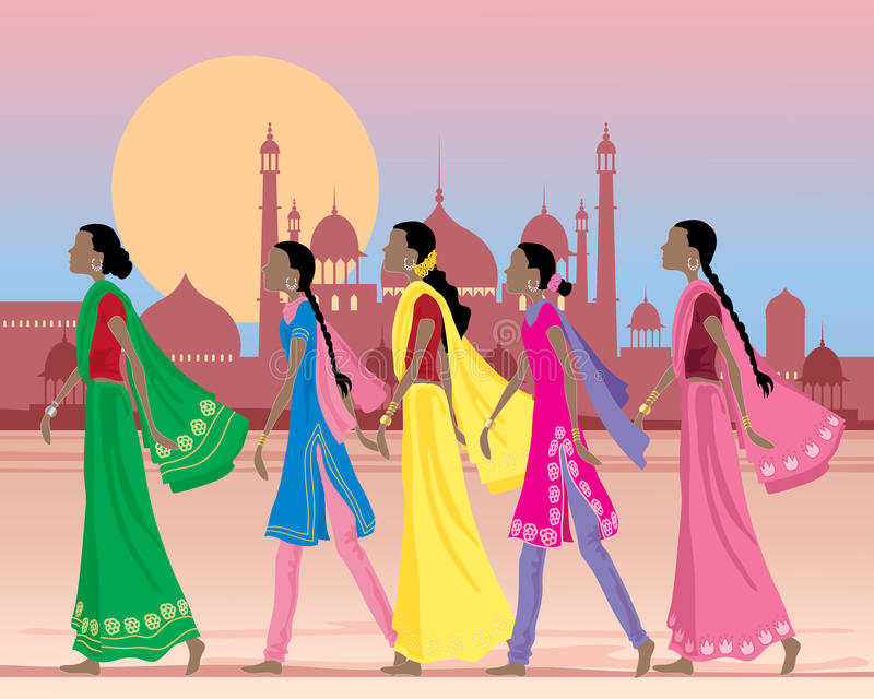 Asian women. An illustration of five asian women wearing traditional salwar kameez and sarees walking along a dusty street in india with exotic architecture stock illustration