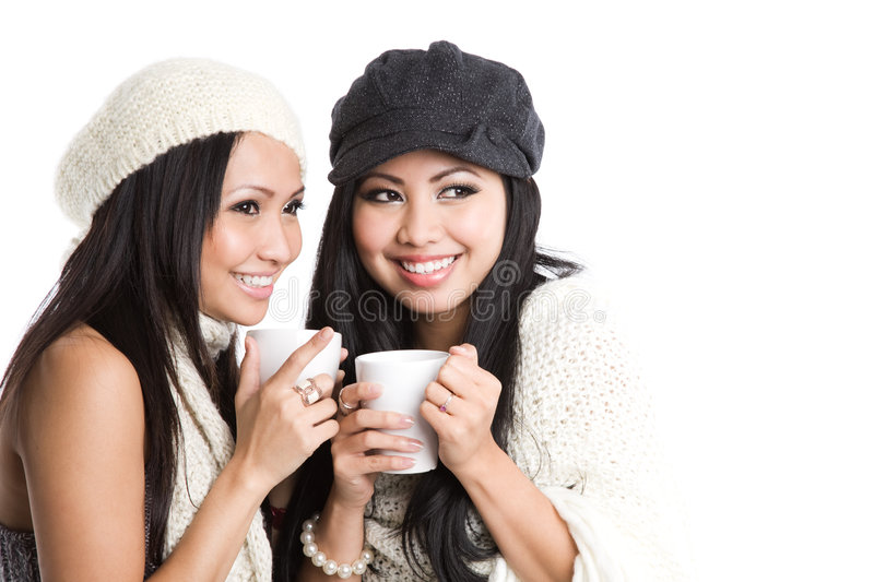Asian women drinking coffee stock image