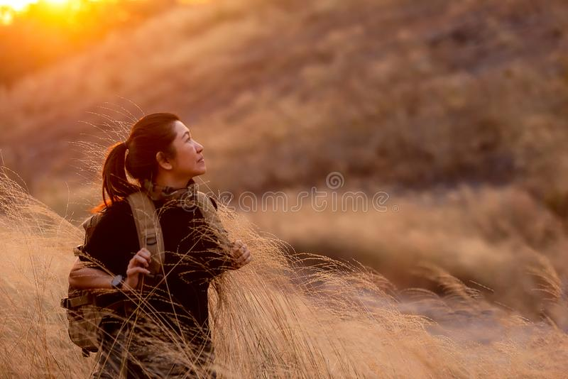 Asian Women hiker or traveler with backpack adventure walking relax in the field meadow outdoor for education and explore nature o royalty free stock photo