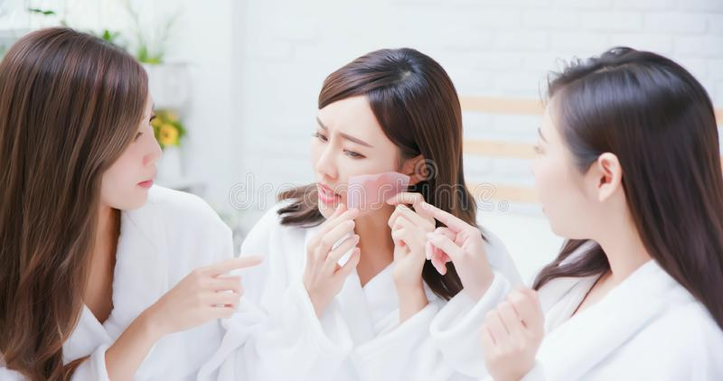 Asian women about skin care stock image