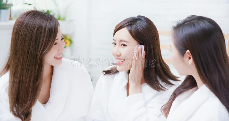 Asian women about skin care stock images