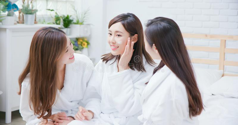 Asian women about skin care royalty free stock photos
