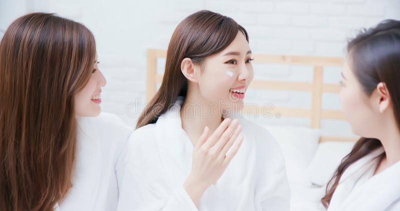 Asian women about skin care royalty free stock image