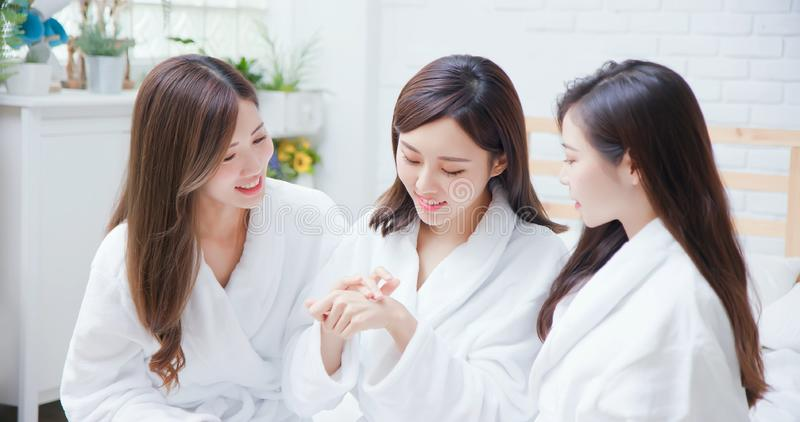 Asian women about skin care stock photos