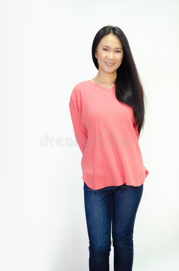 Asian women are smiling stock images