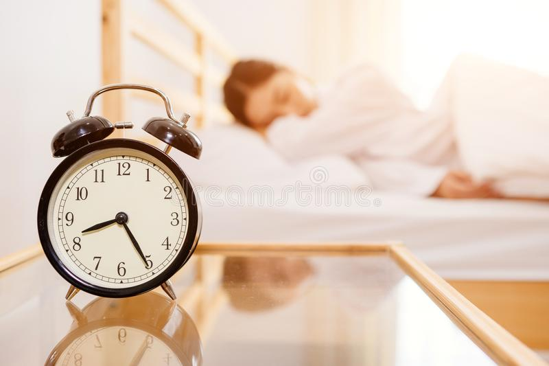 Asian women is still sleeping in the morning bright royalty free stock images
