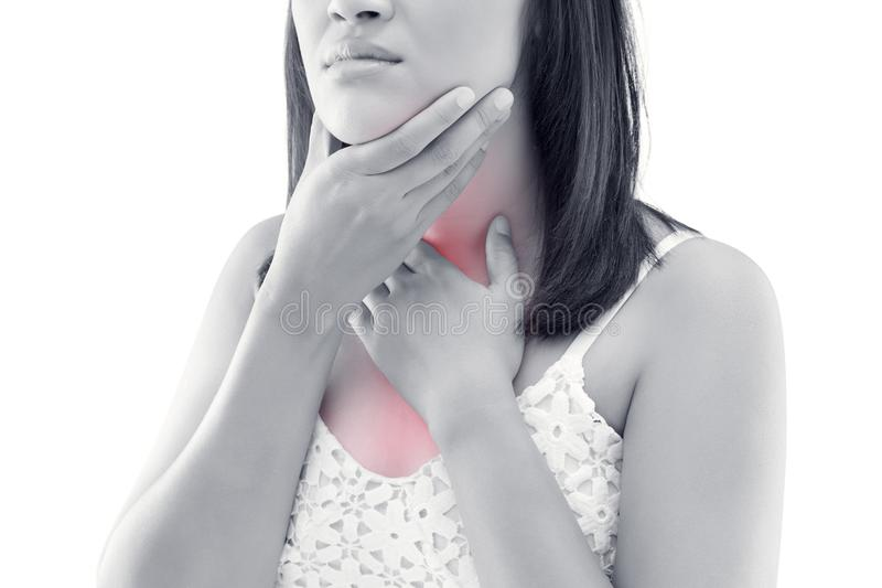 Asian women thyroid gland control. royalty free stock photo