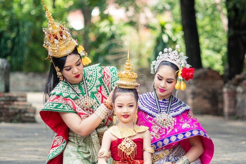 Beautiful Woman Wearing Thai Traditional Dress Holding