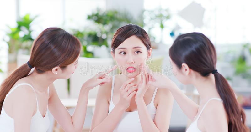 Asian women worry her skin stock photo