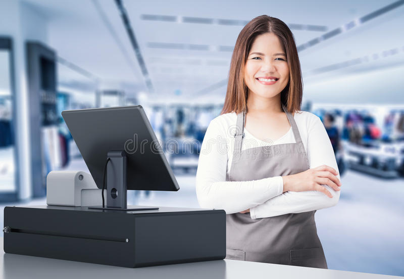Asian worker with cashier desk. Asian worker with 3d rendering cashier desk in store stock photos