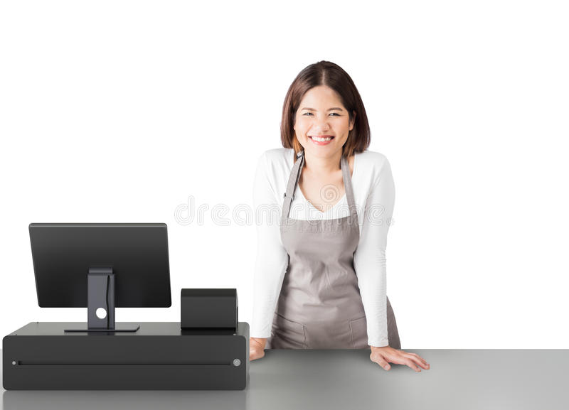 Asian worker with cashier desk. Asian worker with 3d rendering cashier desk on white background royalty free stock photo