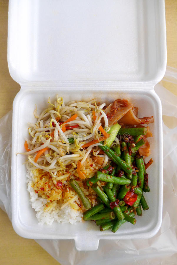 Asian worker packed lunch royalty free stock photos