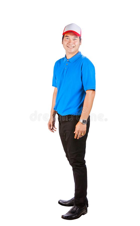 Asian working man in blue shirt toothy smiling face good service. Mind isolated white background royalty free stock image