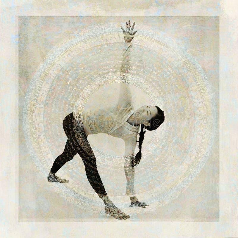 Asian Yoga Woman Mandala Triangle Pose royalty free stock photo