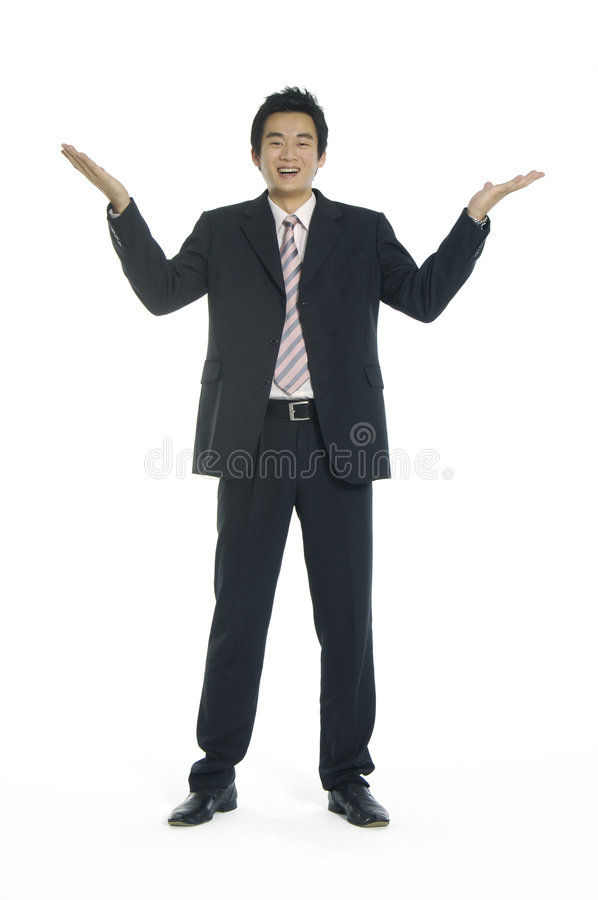 Asian young businessman. Smiling Businessman with arms open isolated over white royalty free stock photography