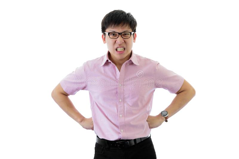 Asian young businessman has standing with upset on isolated on wihte background. Adult aggressive anger angry annoyed bad black brown casual caucasian stock photography