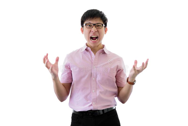 Asian young businessman has standing with upset on isolated on wihte background. Adult aggressive anger angry annoyed bad black brown casual caucasian royalty free stock images