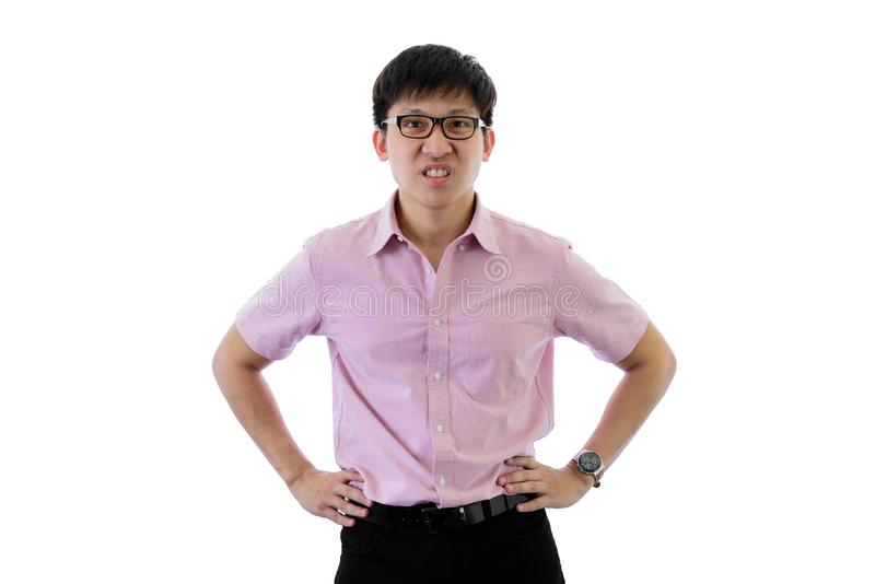 Asian young businessman has standing with upset on isolated on wihte background. Adult aggressive anger angry annoyed bad black brown casual caucasian stock photos