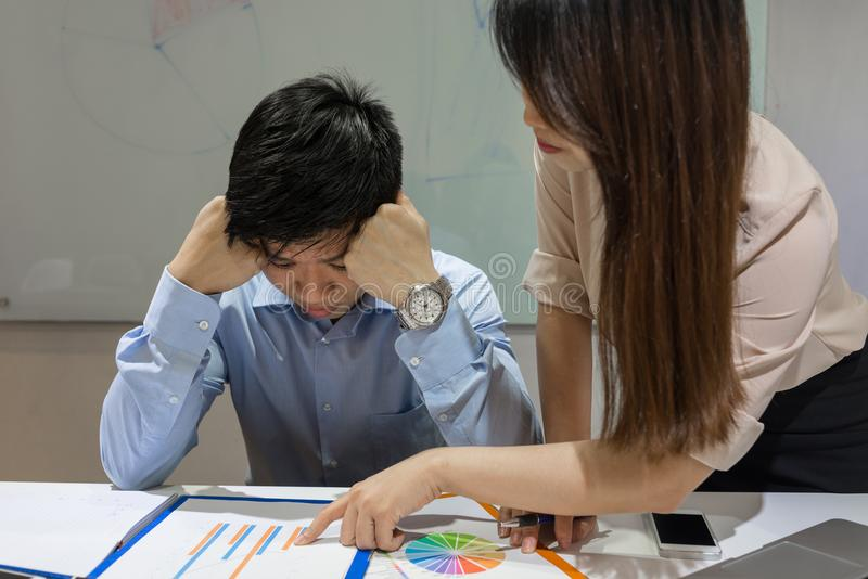 Asian businessman listen the complaint from his boss stock photos