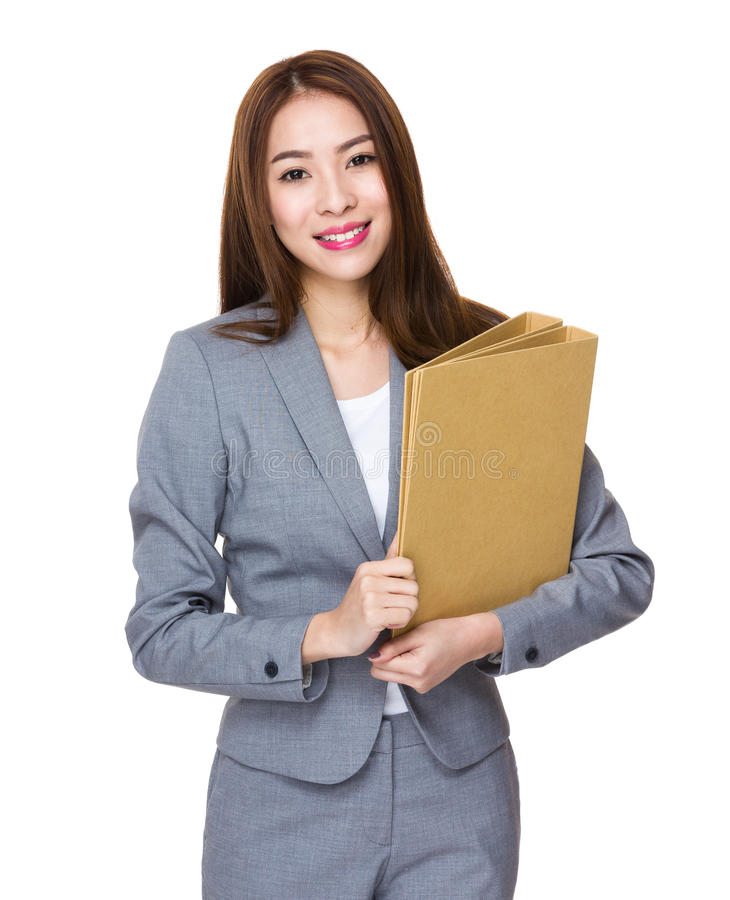 Asian Young Businesswoman hold with folder royalty free stock photos