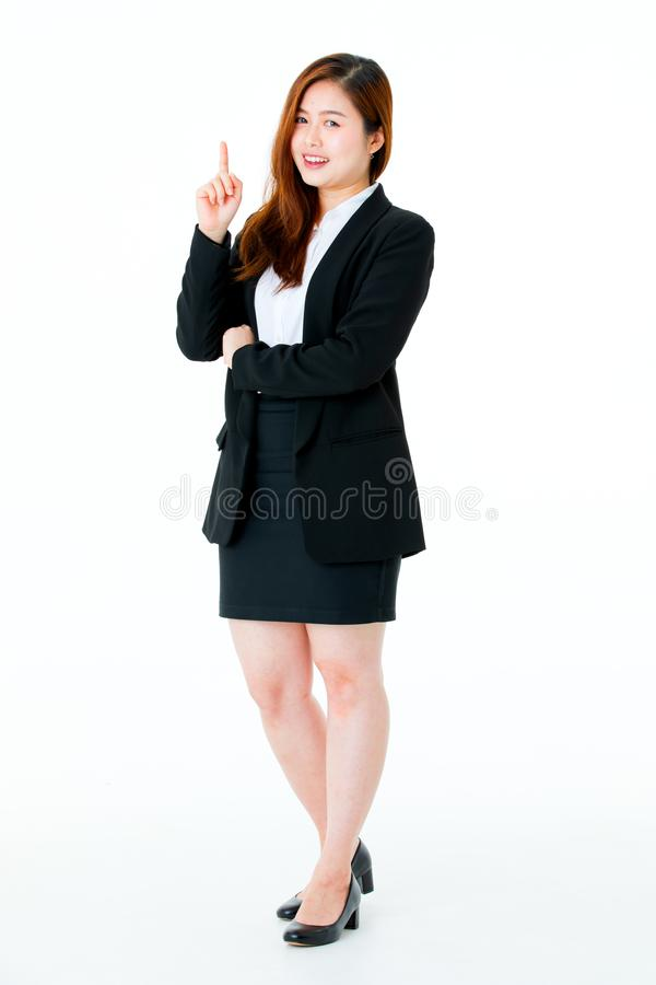 Asian young businesswoman portrait smart successful in black sui royalty free stock image